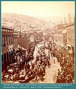 Colorado Central Railroad -  Parade and celebration honoring the Colorado Central Railroads arrival in Central City, May 21, 1878 - The railroad was completed the day before.(Image 00182) (202k)