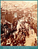 Colorado Central Railroad -  Parade and celebration honoring the Colorado Central Railroads arrival in Central City, May 21, 1878 - The railroad was completed the day before. Close up view of image 00182- (Image 00183) (202k)